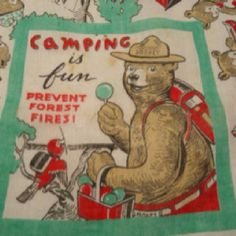 Smokey the Bear vintage hankie. I need this!