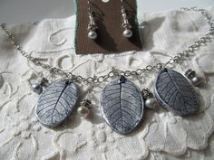 Necklace Earring Set 3 Smoke Bush Real Leaf impressions Clay Silver Color Freshwater Pearls Steel Chain Gray Pearl Earrings Hypoallergenic by VanessaStoryDesigns on Etsy
