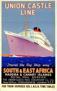 Vintage Shipping Poster from Onslows - Union-Castle shipping line poster.