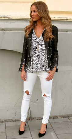white jeans and leopard shirt