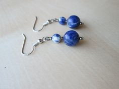 Sodalite and silver fish hook earrings by johnnynjenny on Etsy, $9.50
