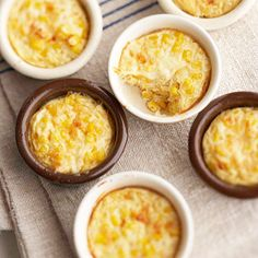 These mini corn and cheese casseroles make a great side dish for dinner parties.