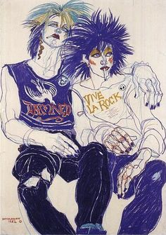 Fashion Illustration by Jo Brocklehurst, 1982, Punk movement.