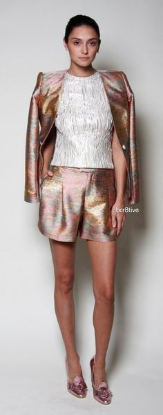 Christian Siriano Metallic Linen Blazer & Shorts - I like the multicolored metallic