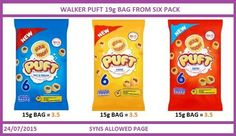 Walkers puff crisp syns Slimming World Sweets, Slimming World Syns List, Slimming World Recipes, Crisps Syns, Syn Free Food, Slimmimg World, Fat Fighters, Skinny Girls