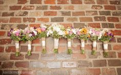Bride and bridesmaids bouquets are pretty bunches of pale colors wrapped in burlap - thereddirtbride.com - see more of this wedding here Brides And Bridesmaids, Bridesmaid Bouquet, Wedding Bouquets, Bridesmaid Dresses, Wedding Dresses, Table Flowers, Rustic Wedding, Wedding Planning, Table Decorations