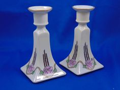 """Bernardaud & Co. (B&Co.) Limoges Arts & Crafts Rose Motif Candlesticks (Signed """"MJB""""/c.1900-1914)"""