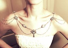 Shoulder Necklace, 1920's, Wedding, Bridal Jewelry, Pearl and Crystal beads, Handmade, MADE TO ORDER!