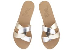 Desmos Sandals by Ancient-Greek-Sandals in silver and gold
