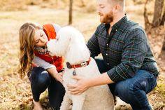 Engagement photos, goldendoodle, fall, dog