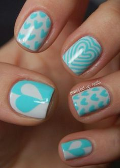 Turquoise and white nails