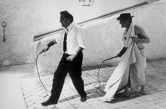 Mastroianni e Fellini ,set 8 e mezzo, 1963
