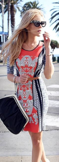 Lovely adorable street style and colorful mini dress