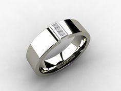 Titanium wedding band, White Gold, Diamond, Titanium ring, wedding band, men, unique, commitment, Promise, men wedding band, ring for men. $589.00, via Etsy.
