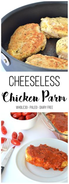 This Cheeseless Chicken Parm is the perfect weeknight dinner for your Whole30! Reminds you just like regular chicken parmesan but much healthier!