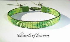 gewebtes Armband bead loom in grün mit Miyuki Delicas