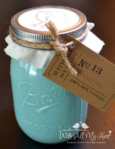 1 16 oz Teal Soy Mason Jar Candle  Jasmine Scent by WithAllMyHart, $25.00