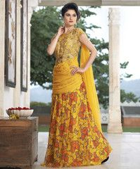 Yellow Color Georgette Unstitched Designer Gown For Wedding : Pritisha Collection YF-32151