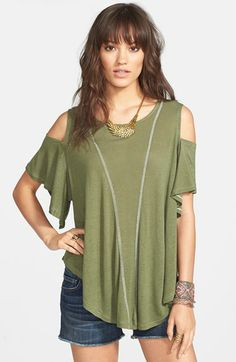 Free People Seamed Cold Shoulder Top available at #Nordstrom