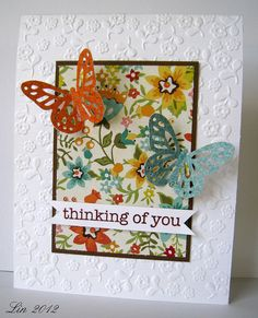 1/17/2012; Lin at 'Sending Hugs' blog; MS Monarch Butterfly punch; Sizzix EF