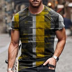 Street Fashion, Men's Fashion, Fabric Names, T Shirt Vest, Check Printing, Color Print, Contrast Color, Casual Street Style, Casual T Shirts
