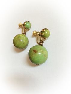 Vintage Green and Brown Marbled Bakelite Dangle by ArtDecoDame
