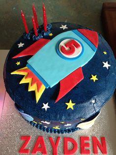 Rocket Ship Cake Rocket Ship Cakes, Rocket Cake, Diy Rocket, 4th Birthday, Birthday Parties, Monster Birthday Cakes, Space Party, Cake Decorating Tools, Diy Cake