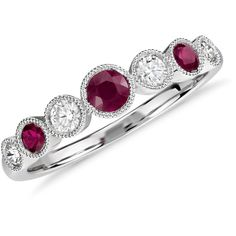 Blue Nile Ruby and Diamond Milgrain Ring (€870) ❤ liked on Polyvore featuring jewelry, rings, red ruby ring, stackable diamond rings, diamond rings, vintage style rings and 14 karat gold