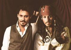 Actors together with one of their famous characters. Pirate Day, Pirate Life, Johnny Depp Pictures, Johnny Depp Movies, Johny Depp, Celebrities Then And Now, Captain Jack Sparrow, Pirates Of The Caribbean, Anime Art Girl
