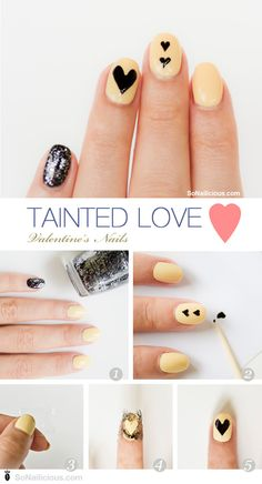 Valentines day nails nail art how to #nails Love that it's not the typical red/pink.
