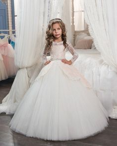 Cheap vestidos de comunion, Buy Quality communion dresses directly from China girls pageant ball gowns Suppliers: Princess Long Sleeves Lace Holy Communion Dresses Girls Pageant Ball Gown Flower Girls Dreses Vestidos De Comunion Girls Pageant Dresses, Gowns For Girls, Wedding Dresses For Girls, Pageant Gowns, Junior Bridesmaid Dresses, Wedding Party Dresses, Wedding Girl, Formal Wedding, Dress Party