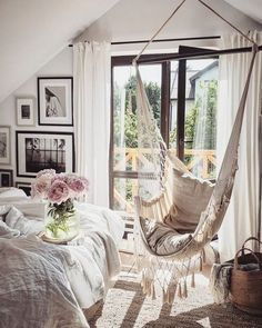 Interior & 📷 b My New Room, My Room, Chill Room, Donia, Rustic Bedding, Cozy Place, Home Fashion, Hanging Chair, Master Bedroom