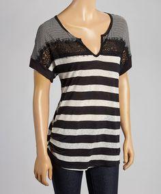 Another great find on #zulily! Black & White Stripe Notch Neck Top #zulilyfinds