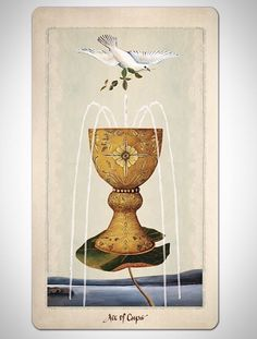 Pagan Otherworlds tarot deck by UUSI.  The Ace of Cups.