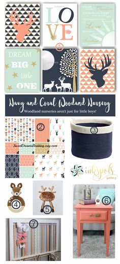 Coral Woodland Nursery - Woodland nurseries aren't just for little boys! Mint, coral and navy combine to make a statement nursery for your little one. (1) Print collection can be completed in any colors @https://www.etsy.com/listing/210904454 (2) Bedding @https://www.etsy.com/listing/247885813 (3) Storage by InterDesign Ellis (4) Rattle @https://www.babyplus.nl (5) Deer stool @http://eo.dk/bambi (6) DIY with General Finishes Milk Paint (7) Bow holder @ https://www.etsy.com/listing/509766025