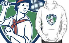 Female Tennis Player Racquet Vintage Shield Retro by patrimonio