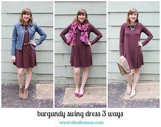 3 ways to style a burgundy dress | www.shealennon.com