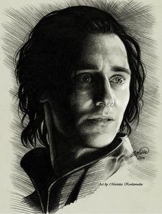"Tom Hiddleston ""Loki"" Fan art From http://yassena.tumblr.com/post/98899395916/loki-by-marietta-kerdzevadze-artbymarietta"