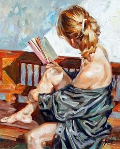 "*Painting - ""Girl Reading on a Bench"" by Sebastia Boada Girl Reading, Reading Art, Reading Books, Art And Illustration, Illustrations, Painting Inspiration, Art Inspo, Beautiful Paintings, Figurative Art"