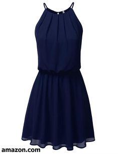 f75e8bd796 JJ Perfection Women s Sleeveless Double-Layered Pleated Mini Chiffon Dress  Women Sleeve