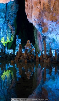 Cave reflections, Reed Flute Cave, China