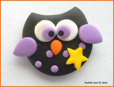 SALE Polymer Clay Bead or Bow Center Star Owl Black and Purple