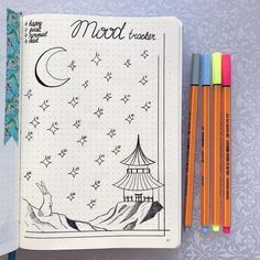 Bullet journal monthly mood tracker, rabbit drawing, stars drawing. | @leonornorals4