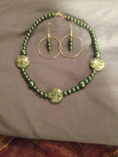 Olive green necklace with marbleized green disc bead & matching earrings