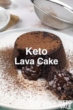 Keto Chocolate Lava Cake - - This sugar-free and low carb lava cake makes it a perfect keto dessert. Köstliche Desserts, Low Carb Desserts, Low Carb Recipes, Dessert Recipes, Low Carb Mug Cakes, Fun Baking Recipes, Sweet Recipes, Ham Recipes, Lava Cake Recipes