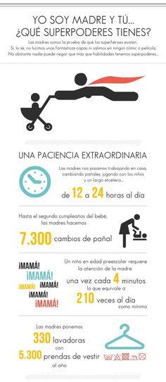 Infografía para las madres: 'Yo soy madre, y tú ¿qué superpoderes tienes? Disfrutadla. http://www.cometelasopa.com/infografia-las-madres-y-sus-superpoderes/