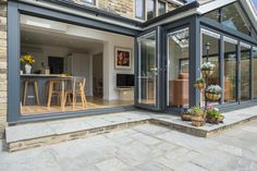 With the bi-folding doors open you can dine alfresco style! House Extension Plans, House Extension Design, Cottage Extension, Side Extension, Garden Room Extensions, House Extensions, Bifold Doors Onto Patio, Patio Doors, Open Plan Kitchen Dining Living