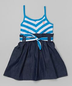 Look at this Blue Gem Chevron Belted Dress - Toddler & Girls on #zulily today!