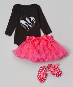 Black Zebra Heart Bodysuit Set - Infant #zulily #zulilyfinds
