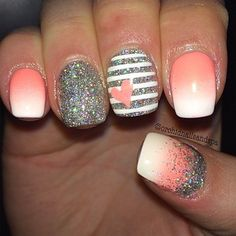 Pink and white ombre with grey sparkle accent nail and stripes with heart manicure inspo